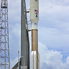 The Navy MUOS-2 on an Atlas V 551 configuration with a 10 meter payload fairing and 5 solid rocket boosters stands waiting 2 days prior to launch