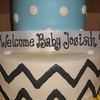 baby shower cake with chevron stripes