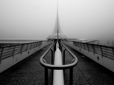 Foggy morning, Calatrava Museum, Milwaukee Wisconsin