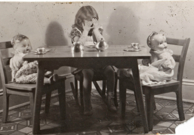 Barbara having tea party abt 1948