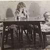 Barbara having tea party abt 1948