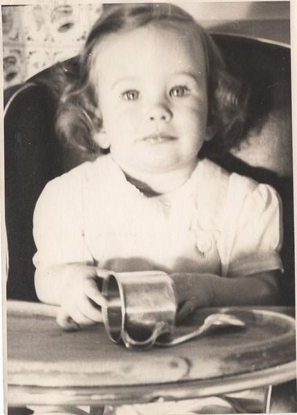Barbara in high chair Feb 1945
