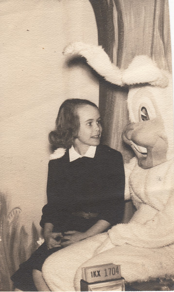 Barb and Easter Bunny abt 1952