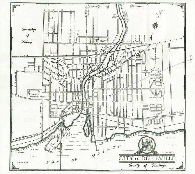 Map Of Belleville Ontario Belleville Ontario Map from about 1950   paullantz