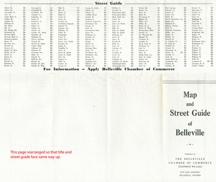 Map and Street Guide of Belleville. Published by the Belleville Chamber of Commerce. Undated, likely about 1950. Outside with list of streets and title. Rearranged so that list of streets and title face same way up.