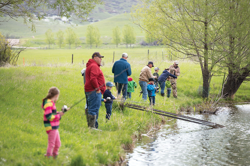 Matthew Gaston | The Sheridan Press<br>Kindergarteners from Big Horn Elementary went out to Wilson Reservoir to go fishing with volunteers from the Lions Club Thursday, May 23, 2019.