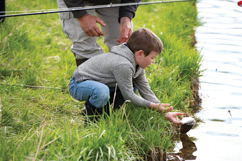 Matthew Gaston | The Sheridan Press<br>Oliver Houck, 6, a kindergartener from Big Horn Elementary releases a trout he caught at Wilson Reservoir back into the water Thursday, May 23, 2019.
