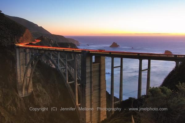 Bixby Bridge Sunset Traffic