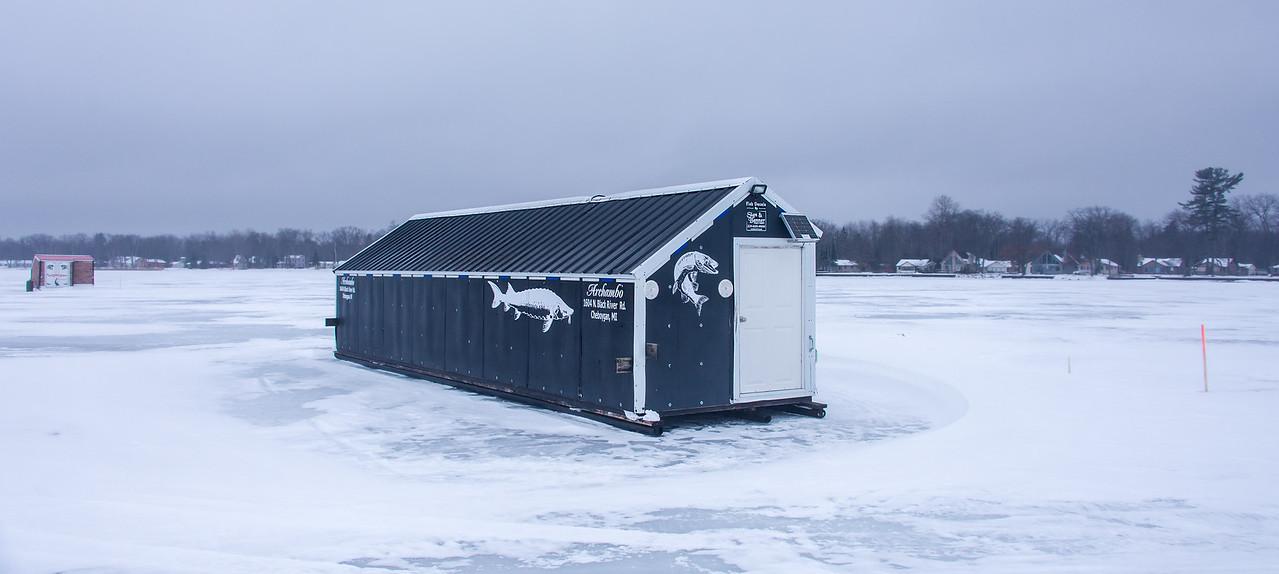 Huge Ice Shanty on Black Lake, Michigan - February 2017