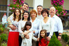 big happy family portrait, at home yard