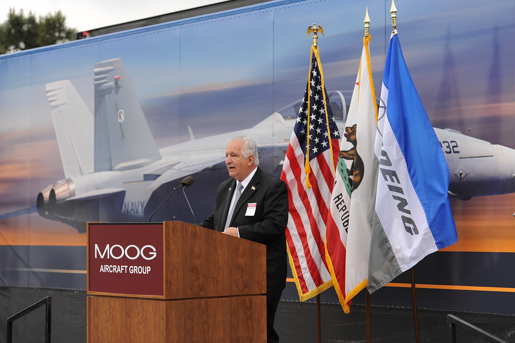 . Torrance Mayor Frank Scotto addresses a rally held at Moog Aircraft Group in Torrance to support local jobs and more advanced fighter jets. Photo by Brad Graverson 3-21-14