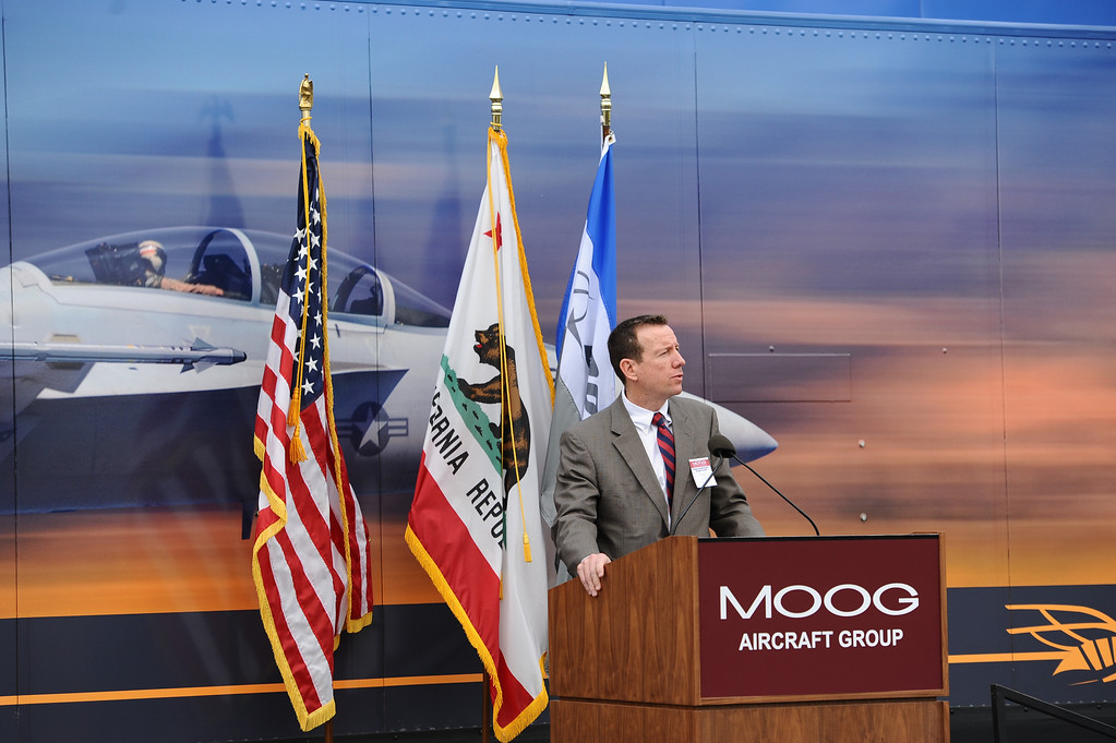 . Mike Gibbons, Boeing F/A-18 and EA-18G Programs Vice President speaks at a rally held at Moog Aircraft Group in Torrance to support local jobs and more advanced fighter jets. Photo by Brad Graverson 3-21-14