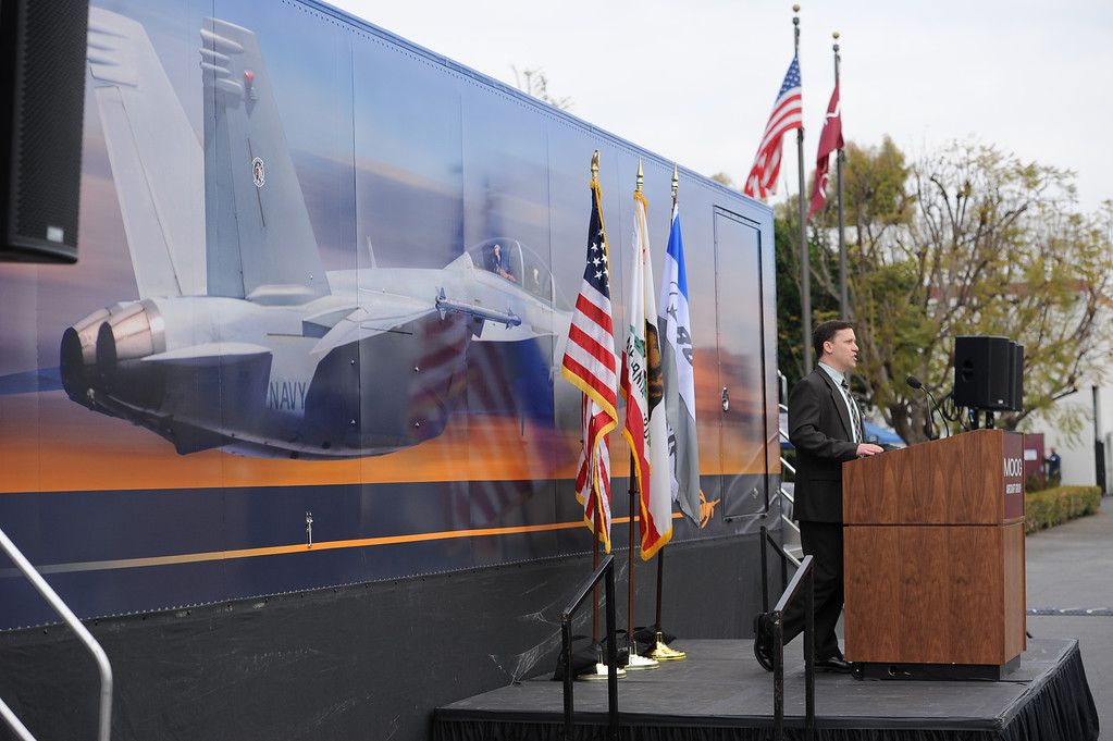 . Dave Norman, Moog Military Aircraft Managing Director  speaks at a rally held at Moog Aircraft Group in Torrance to support local jobs and more advanced fighter jets. Photo by Brad Graverson 3-21-14