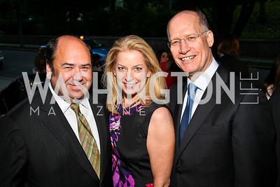 Matt Cooper, Edie Emery, Donald Baer. Photo by Tony Powell. Bradley's Welcome Dinner for WHCD. Bradley residence. April 29, 2011