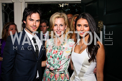 Actor Ian Somerhalder, Katherine Bradley, Actress Nina Dobrev. Photo by Tony Powell. Bradley's Welcome Dinner for WHCD. Bradley residence. April 29, 2011