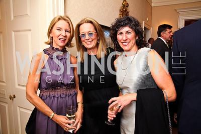 Elizabeth Baker Keffer, Carol Joynt, Marla Mayer. Photo by Tony Powell. Bradley's Welcome Dinner for WHCD. Bradley residence. April 29, 2011