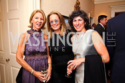 Elizabeth Baker Keffer, Carol Joynt, Marla Mayer. Photo by Tony Powell. Bradley's Welcome Dinner for WHCD. Bradley residence. April 29, 2011