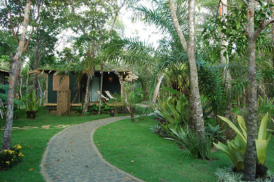 Cobble stone pathways lead through the entire hotel and to each of the grass roofed chalets at Butterfly House.