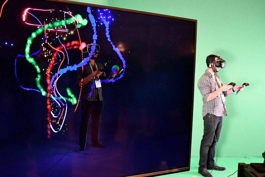 . Jan 6, 2017. Las Vegas NV.  VIVE shows their real  stream VR during ShowStoppers show at the 2017 CES show. CES  celebrates it\'s 50th anniversary this year with a estimated 175,000 to attend the four day show that starts Jan 5th to the 8th. Photos by Gene Blevins/LA Daily News/SCNG