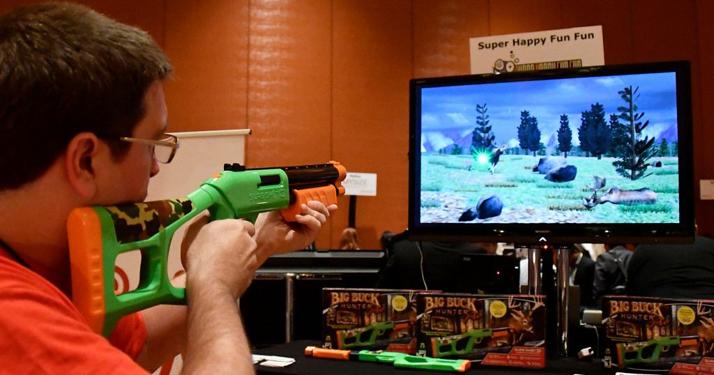 . Jan 6, 2017. Las Vegas NV. Sure-Shot shows  their new Big Buck hunter Pro game during ShowStoppers show at the 2017 CES show. CES  celebrates it\'s 50th anniversary this year with a estimated 175,000 to attend the four day show that starts Jan 5th to the 8th. Photos by Gene Blevins/LA Daily News/SCNG
