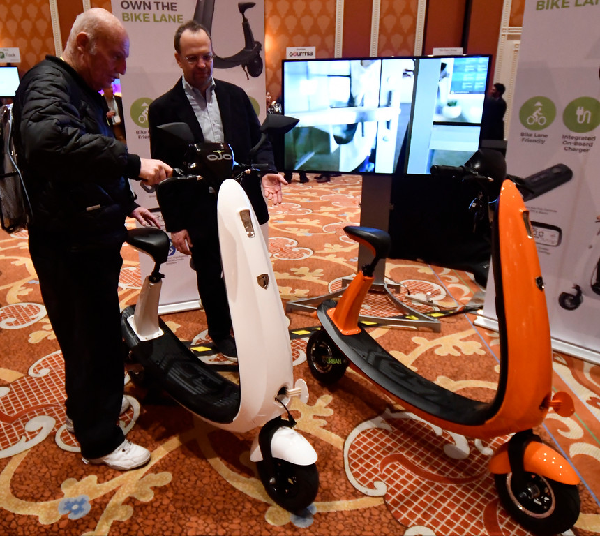 . Jan 6, 2017. Las Vegas NV.  OJO shows their news scooter that can used in the bike lane during ShowStoppers show at the 2017 CES show. CES  celebrates it\'s 50th anniversary this year with a estimated 175,000 to attend the four day show that starts Jan 5th to the 8th. Photos by Gene Blevins/LA Daily News/SCNG