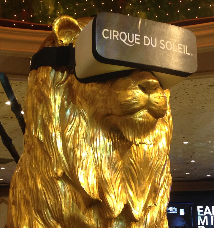 . Jan 6, 2017. Las Vegas NV. MGM lion checks out some goggles during Day 2 of the 2017 CES show. CES  celebrates it\'s 50th anniversary this year with a estimated 175,000 to attend the four day show that starts Jan 5th to the 8th. Photos by Gene Blevins/LA Daily News/SCNG