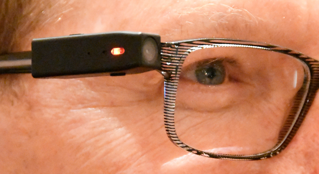 . Jan 6, 2017. Las Vegas NV. Pog-Tec shows their smallest video and still camera unit that fits on any glasses during ShowStoppers show at the 2017 CES show. CES  celebrates it\'s 50th anniversary this year with a estimated 175,000 to attend the four day show that starts Jan 5th to the 8th. Photos by Gene Blevins/LA Daily News/SCNG