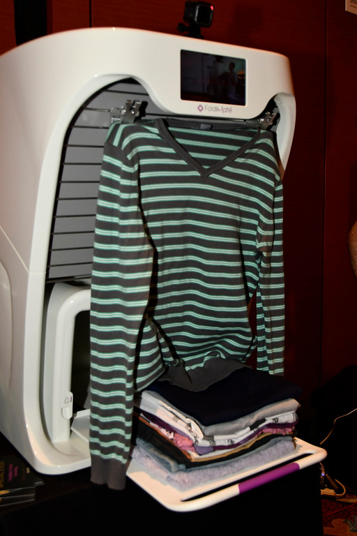 . Jan 6, 2017. Las Vegas NV.  FoldiMate shows their auto machine that folds clothes and towels  during ShowStoppers show at the 2017 CES show. CES  celebrates it\'s 50th anniversary this year with a estimated 175,000 to attend the four day show that starts Jan 5th to the 8th. Photos by Gene Blevins/LA Daily News/SCNG