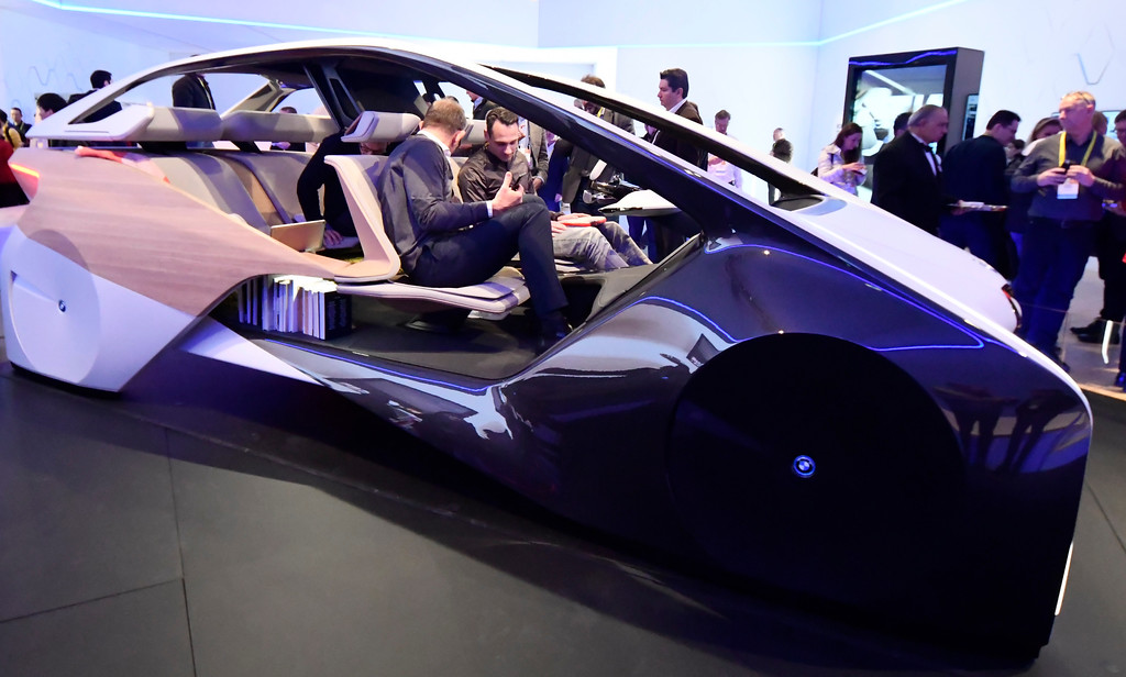 . Jan 6, 2017. Las Vegas NV.  CES attendees check out the wild looking self driving BMW concept car during Day 2 of the 2017 CES show. CES  celebrates it\'s 50th anniversary this year with a estimated 175,000 to attend the four day show that starts Jan 5th to the 8th. Photos by Gene Blevins/LA Daily News/SCNG