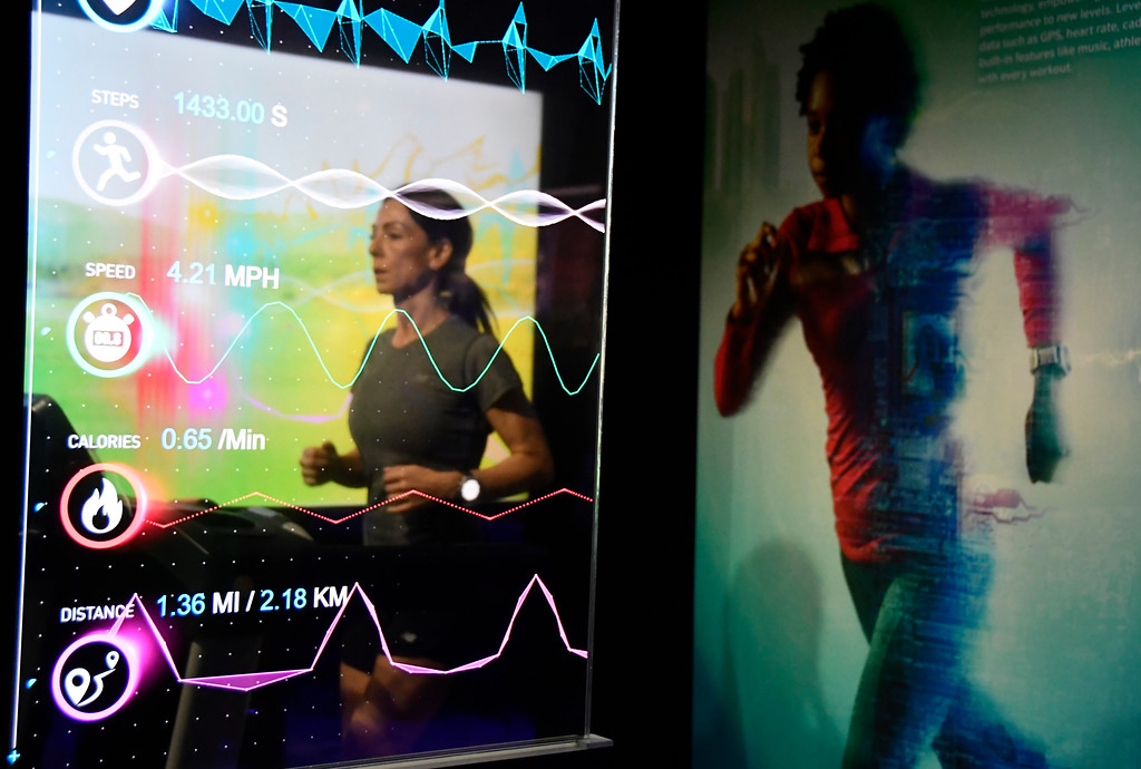 . Jan 6, 2017. Las Vegas NV.  Intel wearables help as a coach and gives you vital signs during a workout during Day 2 of the 2017 CES show. CES  celebrates it\'s 50th anniversary this year with a estimated 175,000 to attend the four day show that starts Jan 5th to the 8th. Photos by Gene Blevins/LA Daily News/SCNG