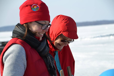 CFL Grad Student, Samantha Oliver and Norma Magnuson enjoying ice science lab.