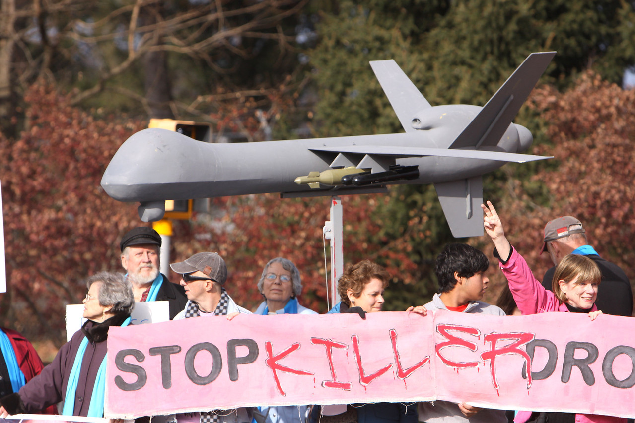Special thanks to CODEPINK for bringing their Drone!  Children killed by drone strikes   http://www.youtube.com/watch?v=zf8bnYF-WxE&feature=player_embedded