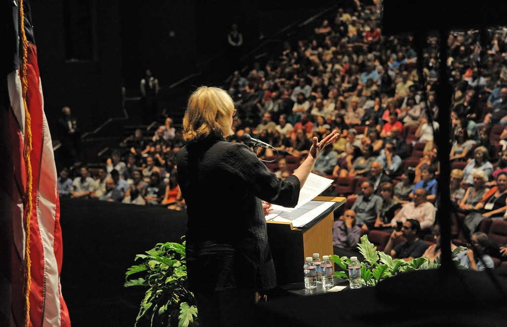 . New CSULB President Jane Close Conoley delivers her first convocation address at the Carpenter Performing Arts Center on campus.  (Aug. 22 2014 Photo by Brad Graverson/The Press Telegram)
