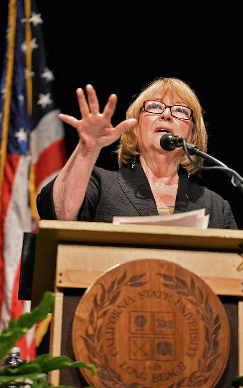 . New CSULB President Jane Close Conoley delivers her first Staate of the University convocation address at the Carpenter Performing Arts Center on campus.  (Aug. 22 2014 Photo by Brad Graverson/The Press Telegram)