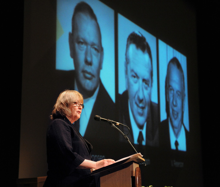 . New CSULB President Jane Close Conoley begins her first State of the University convocation address with a mention of past campus presidents at the Carpenter Performing Arts Center on campus.  (Aug. 22 2014 Photo by Brad Graverson/The Press Telegram)