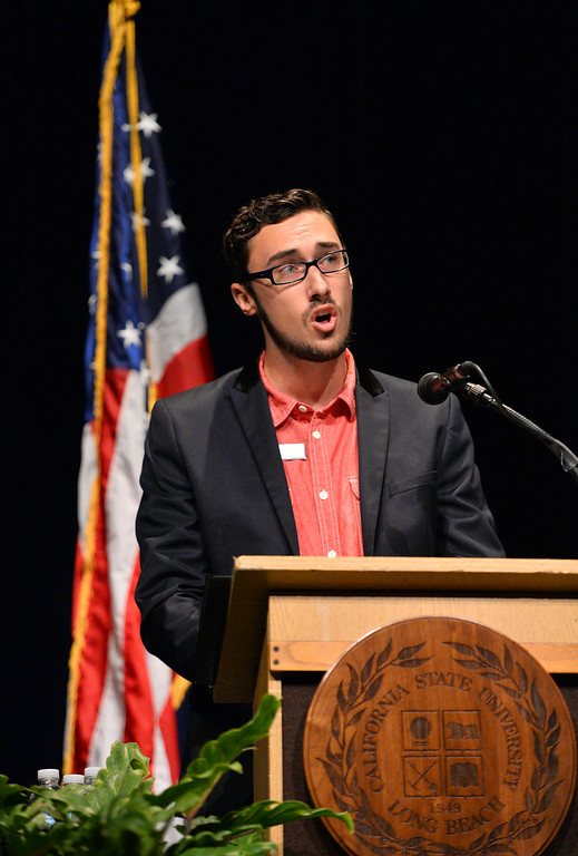 . CSULB ASI student President Joseph Phillips speaks to the crowd at the Carpenter Performing Arts Center on campus during 2014 Convocation.  (Aug. 22 2014 Photo by Brad Graverson/The Press Telegram)
