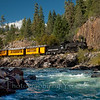 Locomotive 480 pulls a southbound train along the Animas River.