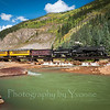 Cover photo. Southbound train crossing Animas just south of Silverton on the 'timber bridge'.