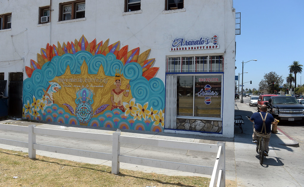 . This is one of several new murals in the Cambodia Town section of Long Beach on Tuesday, July 18, 2017. Artist Tracy Negrete painted this mural at 1436 East Anaheim St . The Cambodia Town Mural Project has had artists put up eight murals on buildings in the Anaheim Street corridor. (Photo by Scott Varley, Press-Telegram/SCNG)