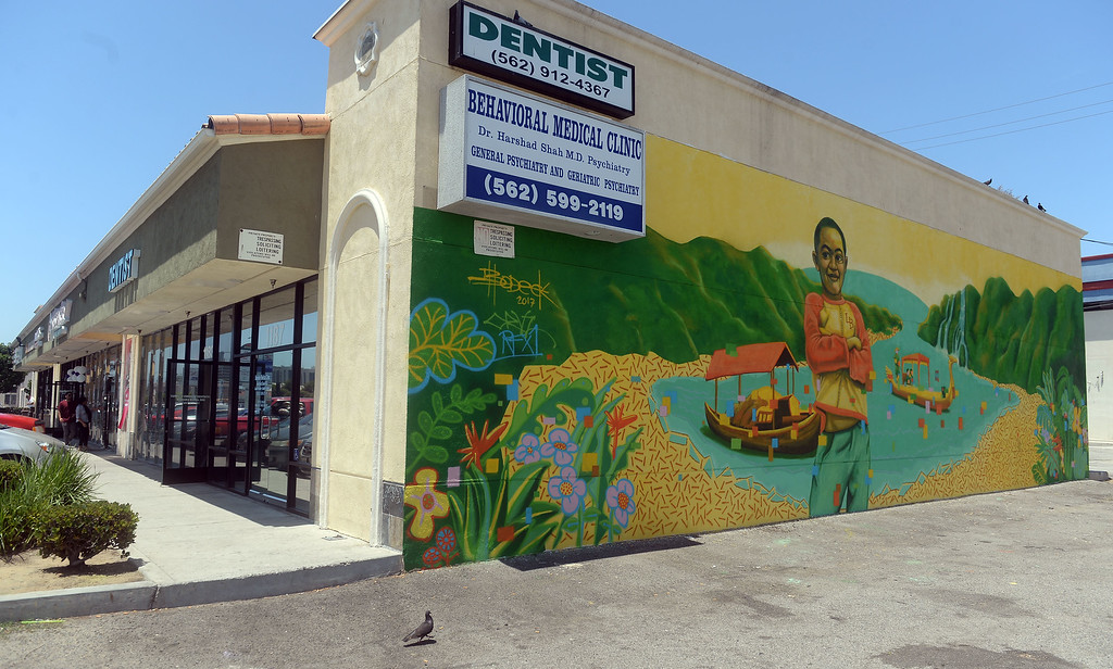 . This is one of several new murals in the Cambodia Town section of Long Beach on Tuesday, July 18, 2017. Artist Bodeck Hernandez painted this mural at 1187 East Anaheim St . The Cambodia Town Mural Project has had artists put up eight murals on buildings in the Anaheim Street corridor. (Photo by Scott Varley, Press-Telegram/SCNG)