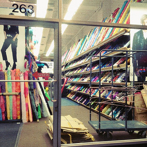 One of many fabric stores in the Fashion District NYC