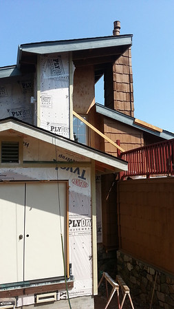 Complex intersections of siding and roofing on the weather side of the house was a challengel