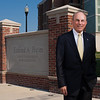 University of Rochester Board of Trustees Chairman Ed Hajim '58 poses next the Hajim Wall in front of Goergen and Wilmot Halls and the Hajim School of Engineering & Applied Sciences August 23, 2012. // photo by J. Adam Fenster / University of Rochester