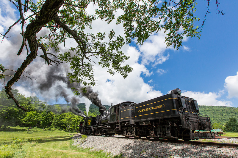 On Saturday, June 15th, the Cass Scenic Railroad celebrated the 50th Anniversary of being a West Virginia State Park. Shay #4 pushed the very first trip up the mountain on June 15th, 1963 and 50 years later to the hour, the locomotive did the same honors, with help from Shay #5 as well. Of note was the special Cass, Greenbrier, Cheat & Bald Knob Scenic Railroad lettering which adorned the water tank of the #4 along with silver running board striping. This was the very first scheme of the railroad and only worn during a National Railroad Historical Society trip in 1961, two years before the railroad would open officially.