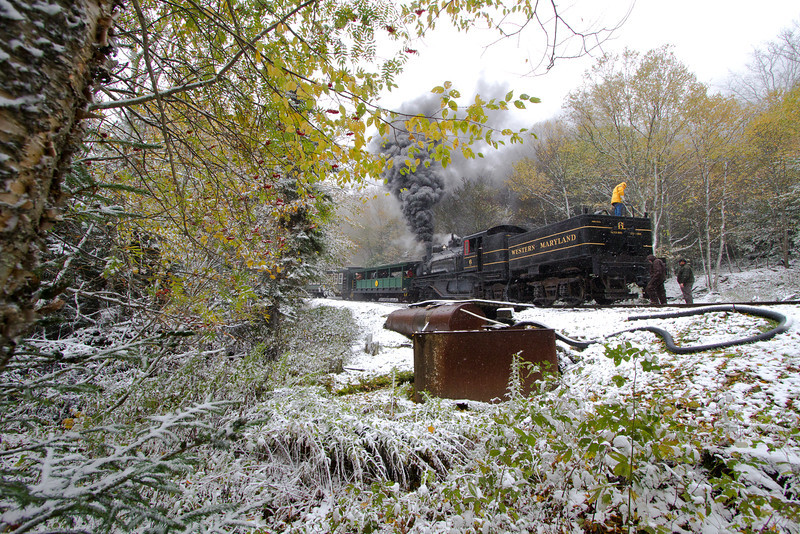 The Cass Scenic Railroad's Western Maryland Shay 6 takes on water at Oats Run.
