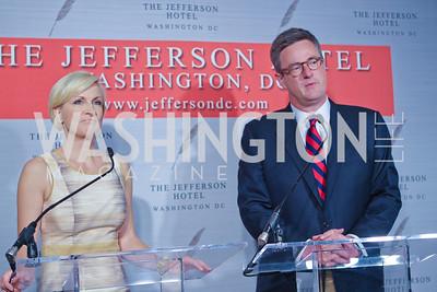 "Mika Brzezinski, Joe Scarborough. Photo by Alfredo Flores. Celebrate Chris Licht, MSNBC's ""Morning Joe"" Executive Producer. The Jefferson Hotel. May 26, 2011"