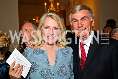 Jan Smith and Sam Donaldson. Photo by Tony Powell. Celebration of the Royal Wedding. Residence of the English Ambassador. April 29, 2011