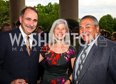 David and Susan Axelrod, Tony Podesta. Photo by Tony Powell. Celebration of the Royal Wedding. Residence of the English Ambassador. April 29, 2011