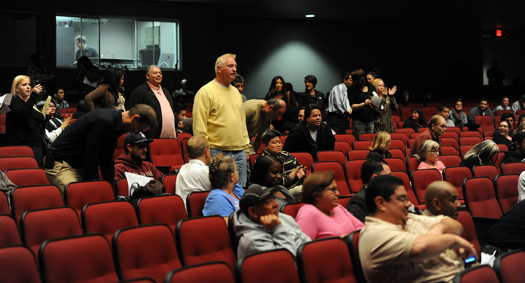. Members of the publics peak during a Centinela Valley Union High School District emergency meeting,  at the Centinela Valley Center for the Arts.  Members of the public and board members spoke about Superintendent Jose Fernandez amassed $663,000 in total compensation last year.    Tuesday evening  Lawndale Calif., Tuesday,  February 25,  2014.   (Photo by Stephen Carr / Daily Breeze)
