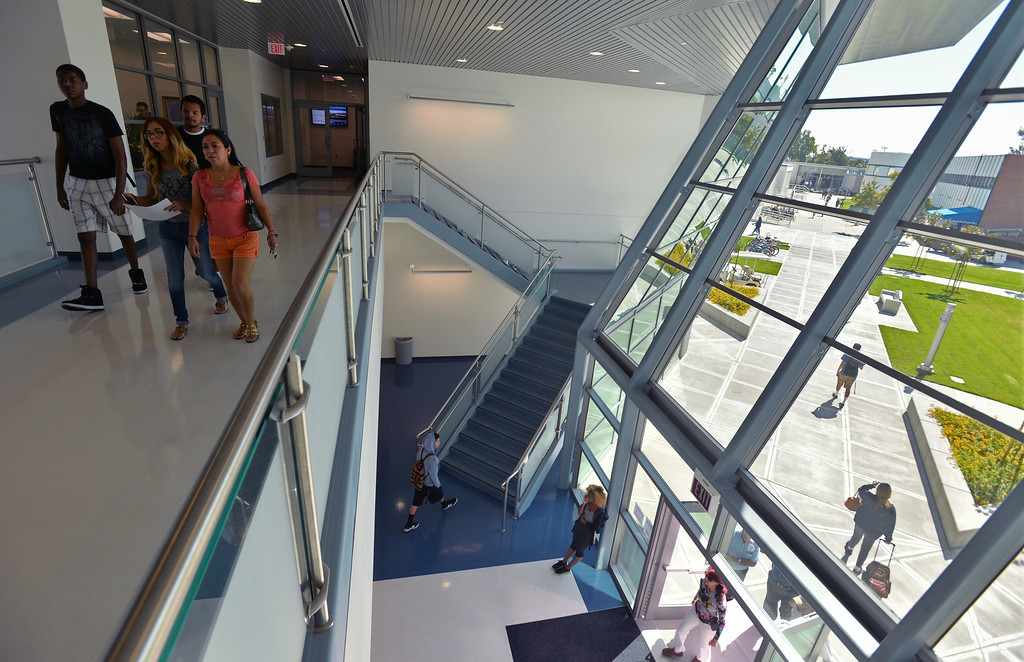 . New Liberal Arts Bldg. First day of classes at Cerritos College for the fall semester. Students will see new buildings, programs and food services. Enrollment is up 5.8%. (Aug. 18 2014 Photo by Brad Graverson/The Press Telegram)